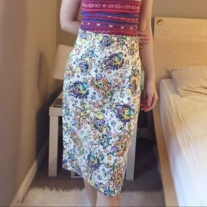 Zara Women multi color floral pencil skirt